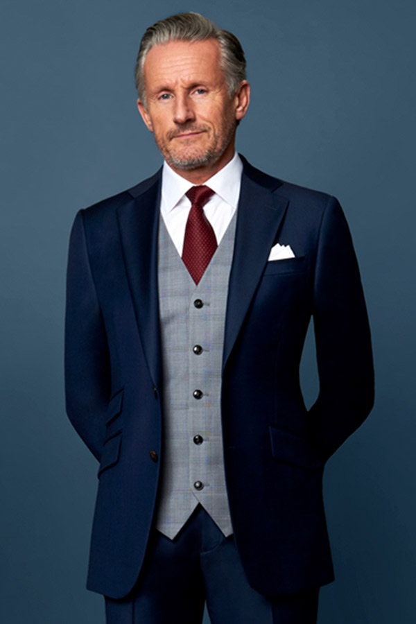 midnight blue suit with grey waistcoat