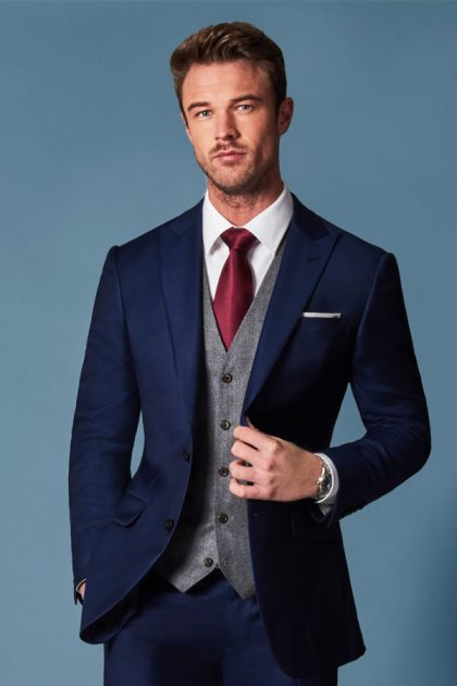 midnight blue 3 piece wedding suit singapore