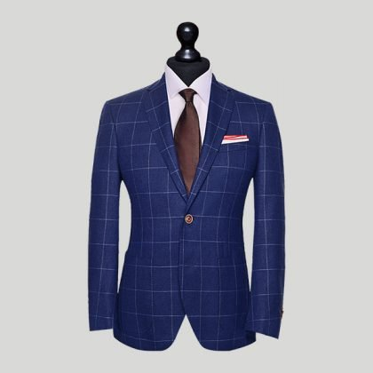blue stitch tailored suit