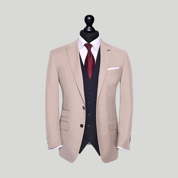 peach tailored wedding suit