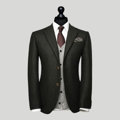 black with grey waistcoat wedding suit for men