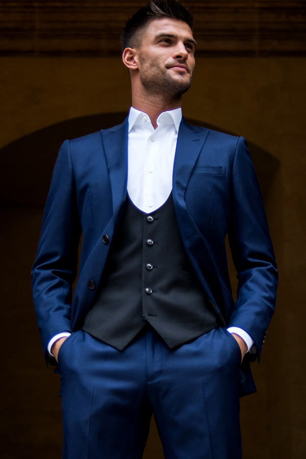 Aljaz Skorjanec royal blue suit black waistcoat edit suits co.