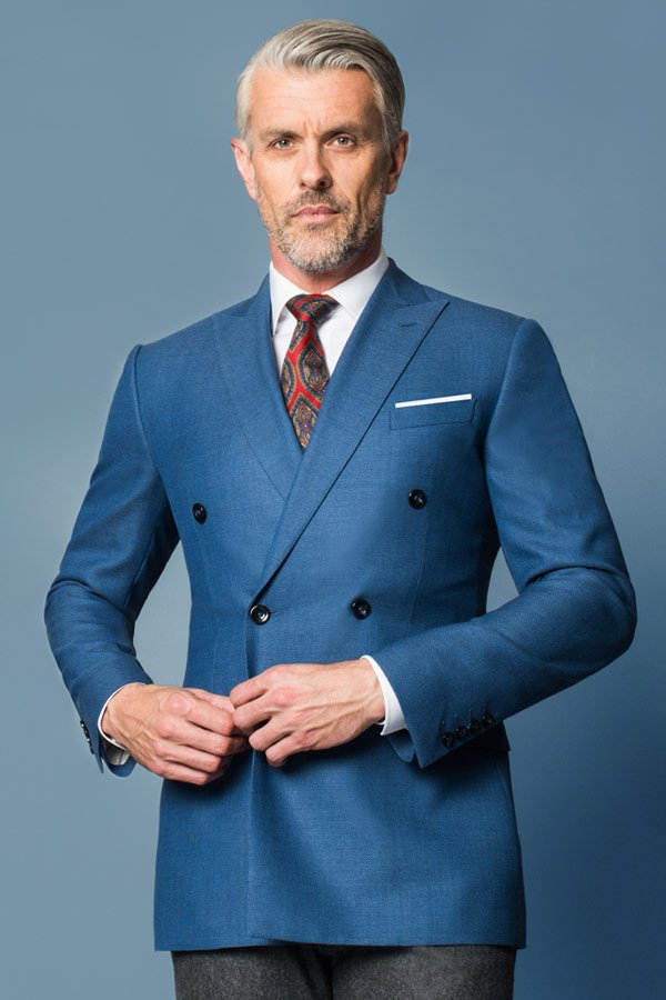blue double breasted suit
