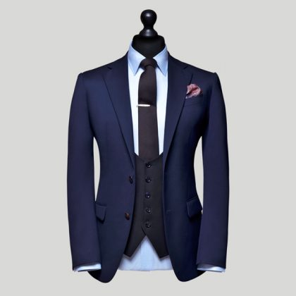navy tailored 3 piece suit singapore