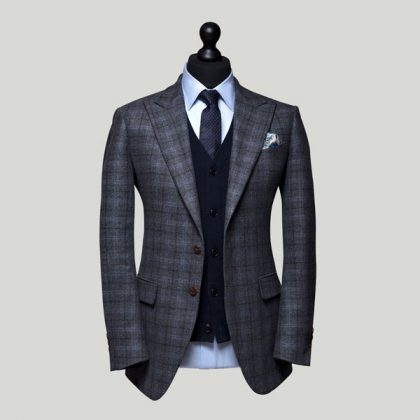 grey windowpane flannel jacket with midnight blue cardigan 3 piece suits edit suits co.