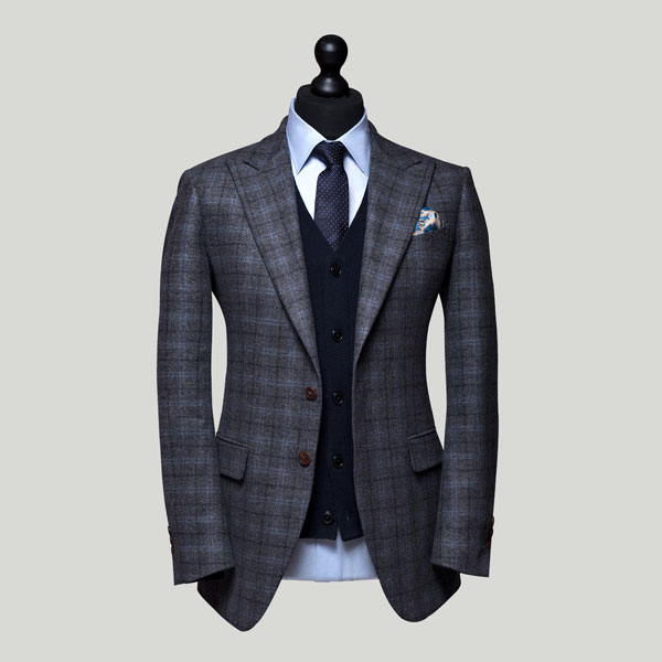 grey windowpane flannel jacket with midnight blue cardigan edit suits co.