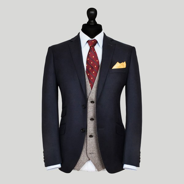midnight blue jacket with grey waistcoat wedding suit