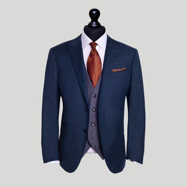 blue jacket grey waistcoat wedding suit london