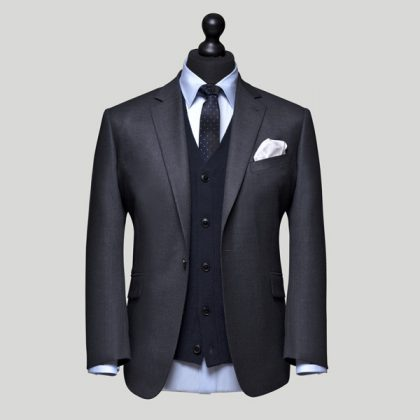 grey jacket with blue cardigan 3 piece suit