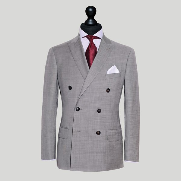 grey jacket with red tie double breasted suit singapore