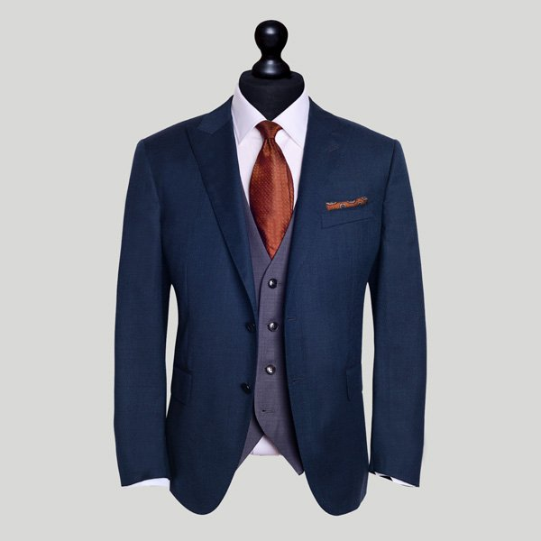 blue slim fit tailored suit London