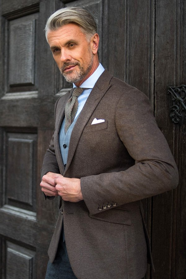 brown tailored wedding suit