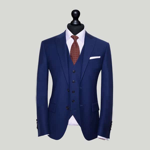 Blue and Pink Shirt Mens Wedding Suit
