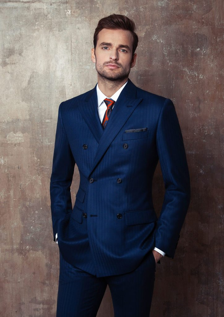 Striped Navy Double Breasted Suit