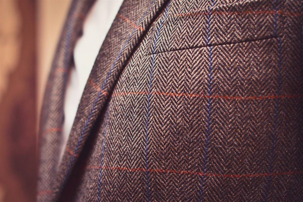 Tailored Tweed Suits Blue and Red Stitch