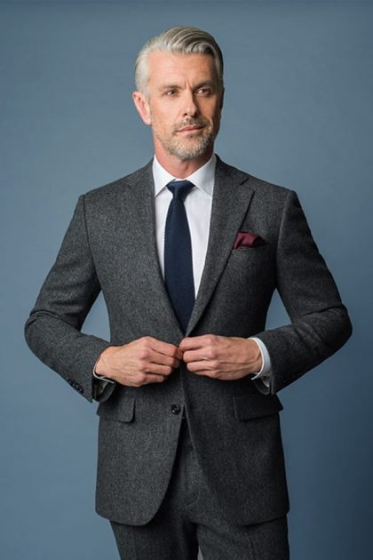 Grey Tailored Tweed Suits London