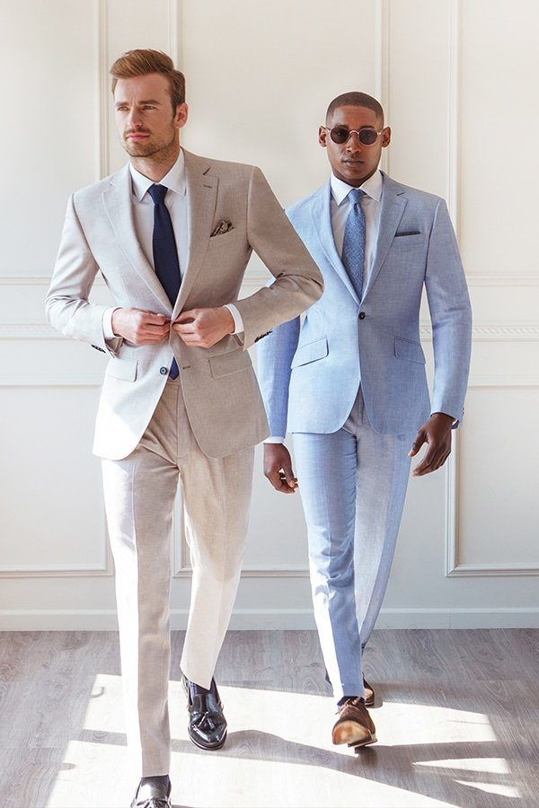 Blue and Cream Wedding Suit London