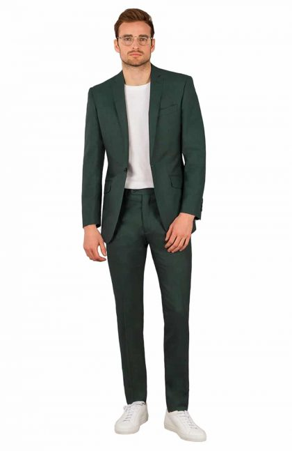 smart trousers for linen suits in dark green