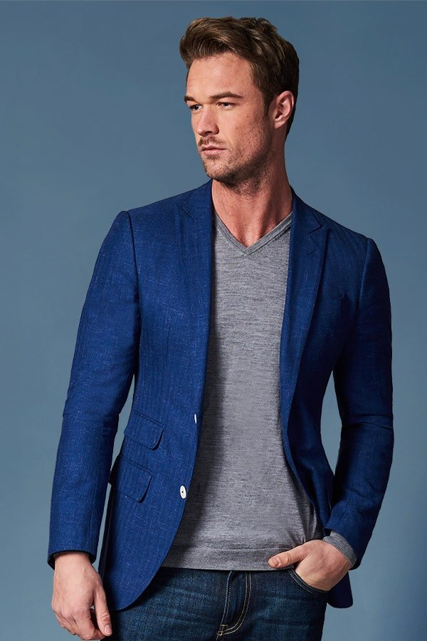 mens navy blue tailored linen suit